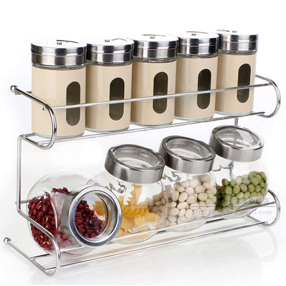 10 PCS Premium Quality Clear Glass condiment set, spice box seasoning bottle set with Shelf seasoning salt pepper spice cans kitchen accessories ZBNL2383
