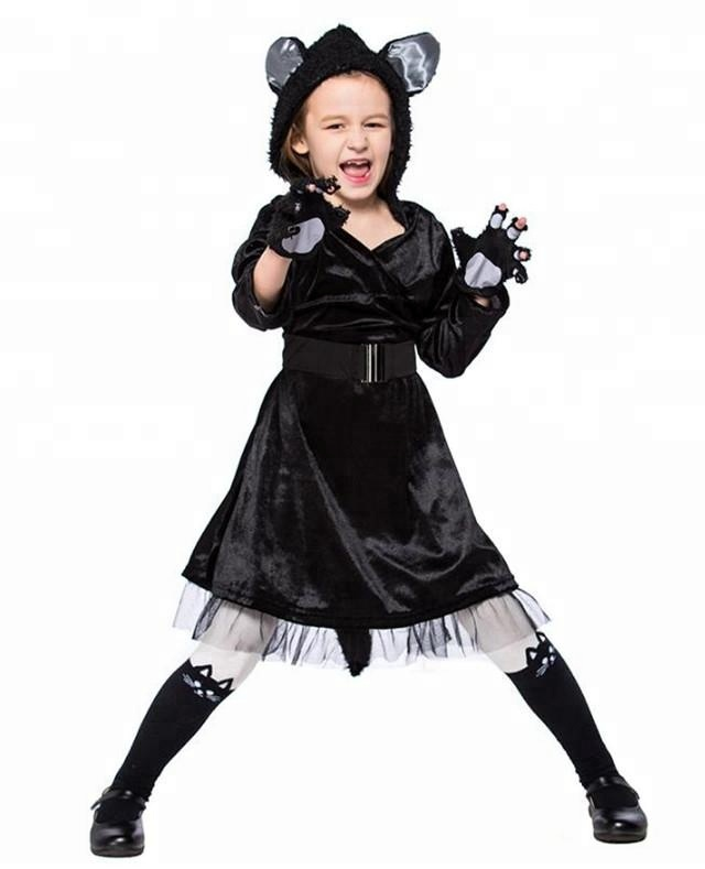 Bambini Halloween Black Cat Cosplay Animal Costume Fancy Dress Tuta con Headwear Zampe