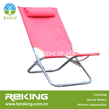 Pink Folding Beach Chair With Pillow