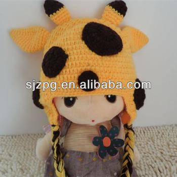 2014 Giraffe Häkeln Cartoon Baby Mütze Mit Ohren Muster Kostenlos