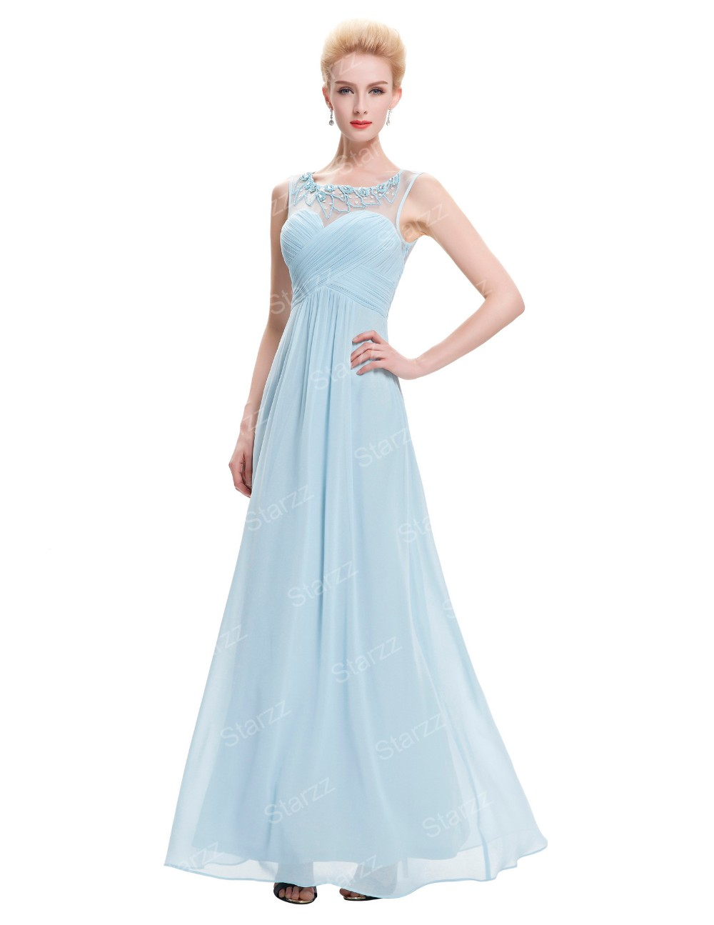 Starzz sleeveless light blue chiffon long bridesmaid dress starzz sleeveless light blue chiffon long bridesmaid dress st000060 5 ombrellifo Images