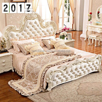 European Queen Bed Bedroom Furniture Luxury Leather Bed