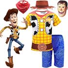 Toy Story Arrival Boys Woody Costumes Kids Fancy Dress Hat Mask Halloween Costume For Kids Woody Role Play Cowboy Costume Suit