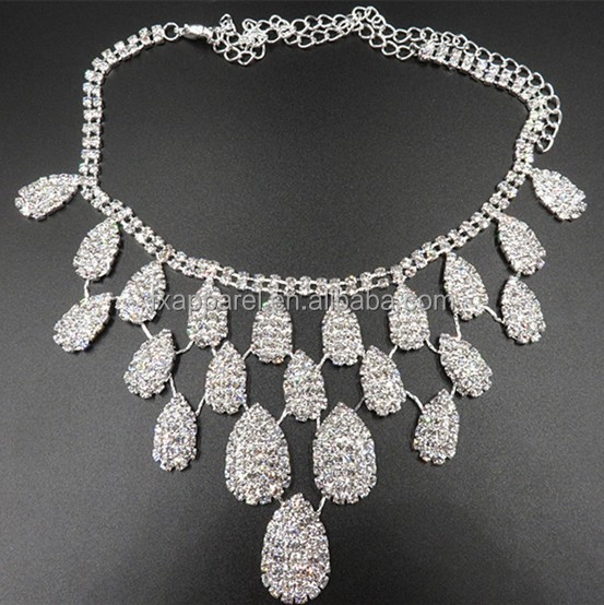 Wedding Jewelry Bride Gorgeous Rhinestone Necklace Earrings <strong>Set</strong> G0045