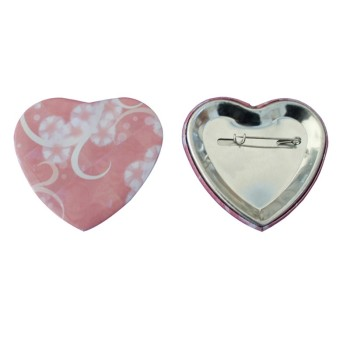 Custom Brooch Badge Maker Heart Shaped Pin Badges Plastic Snap Button