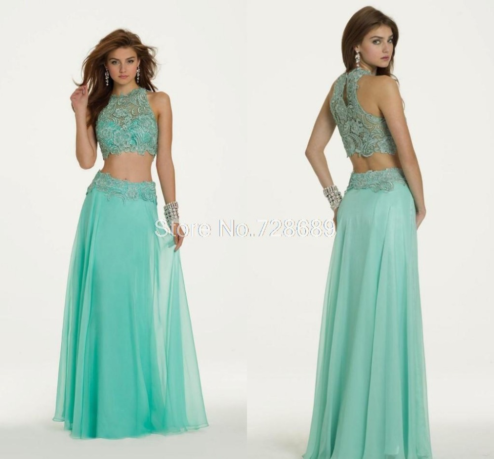 Buy 2 Two Piece Prom Dresses 2015 A-line High Collar Mint Green ...
