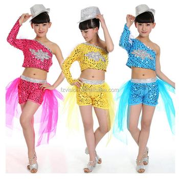 Niñas lentejuelas moderno hip hop dancewear azul niños Jazz Dance traje  corto superior f0eb3ec6eab