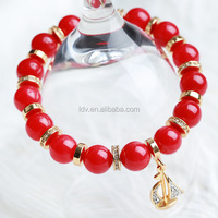 Red Agate Elastic String Link Pave Alloy Ring Bracelet Pave Sail Autumn 2014