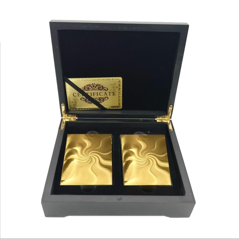 Luxury 24k Gold Poker Card Double Side Engraved(Gold & Silver) Style, 2 Set Gold Playing Card With Wooden Box