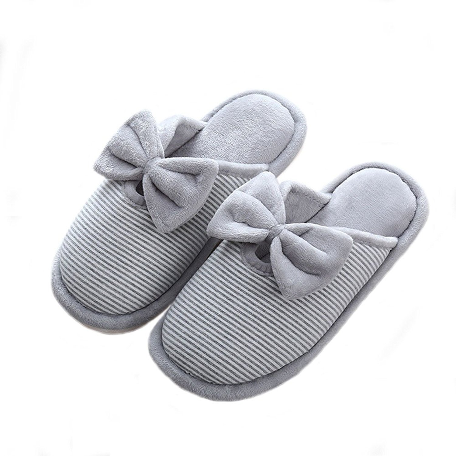 Liangcheng Winter Women's Lovely Bowknot Home Cotton Slipper Men's Indoor Cozy Warm Indoor Slipper