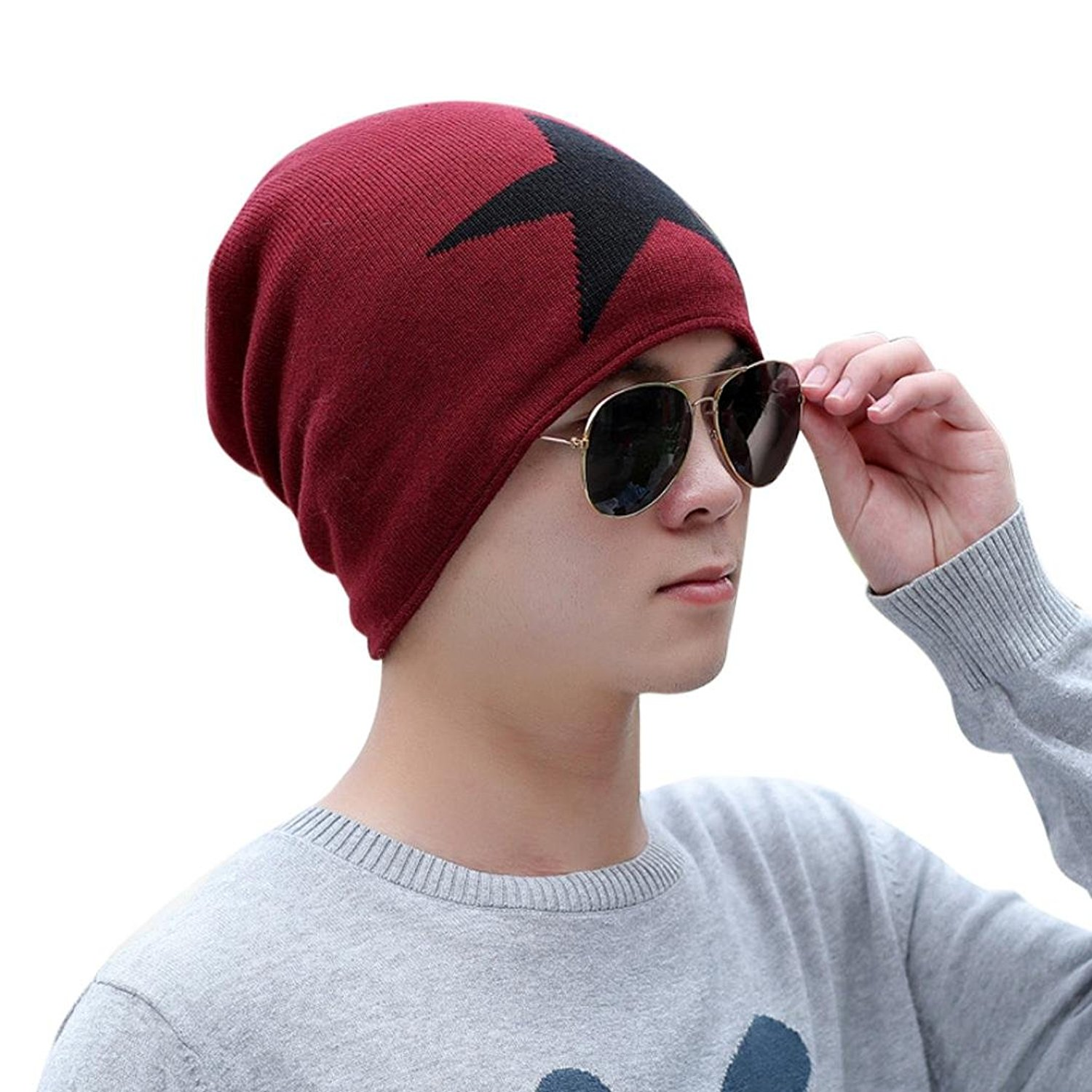 f1a8b4ae Get Quotations · Hunputa Mens Hat Winter, Mens Winter Warm Knitting Hats  Oversized Baggy Slouchy Beanie Hat Skull