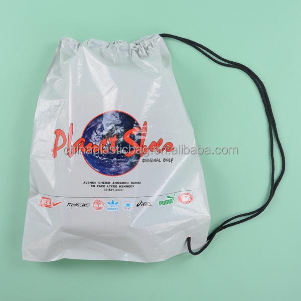 Custom Design Drawstring Plastic Bags For Shoes Packaging Printed Shoe Clear Bag