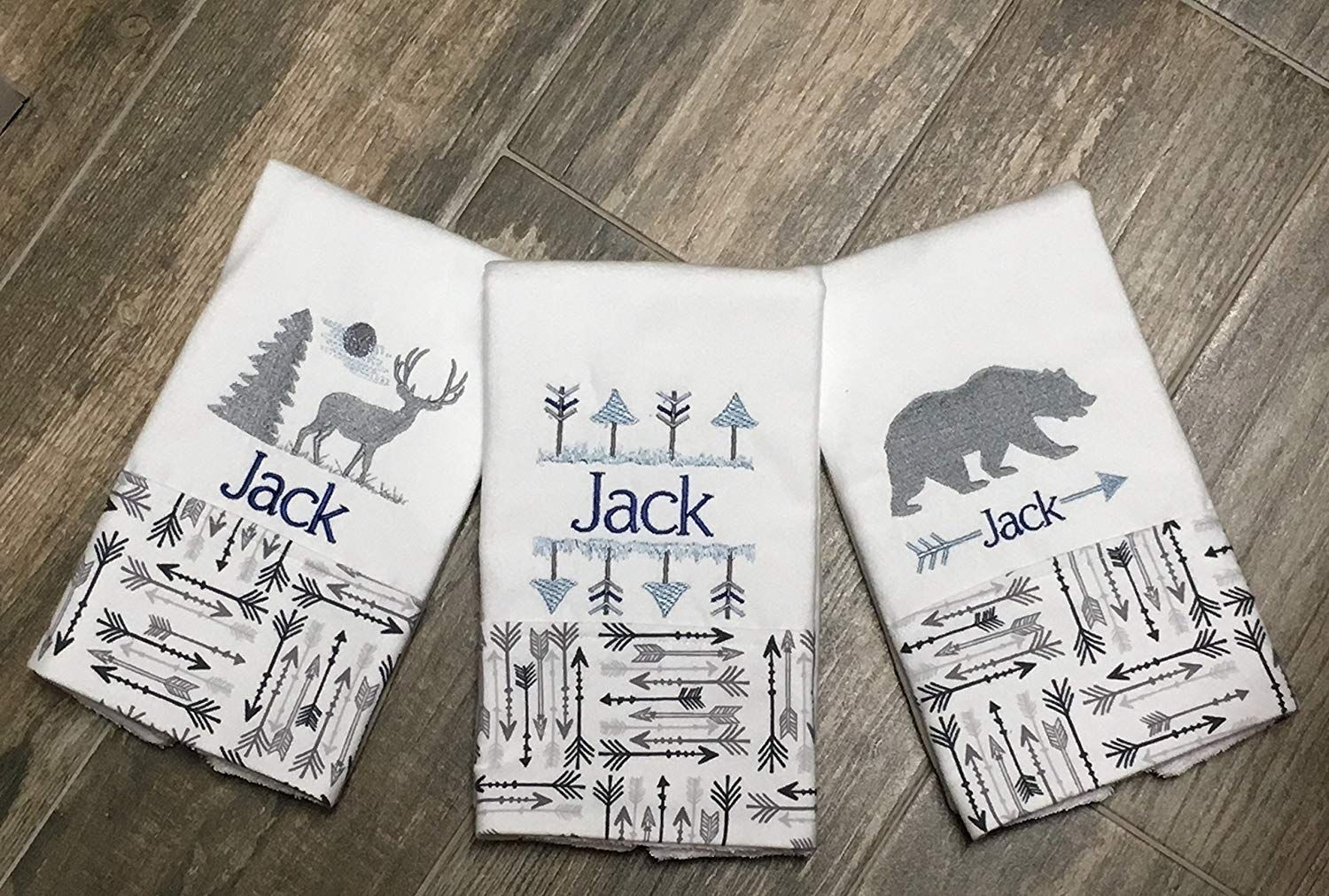 82b4cc8d3 Get Quotations · 3 Elk and Bear Woodland Animals Blue and Gray Burp Cloths,  Personalized Embroidered Burp Cloths