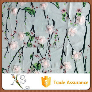 Embroidery Natural Chiffon Rose Flower Fabric for Wholesale
