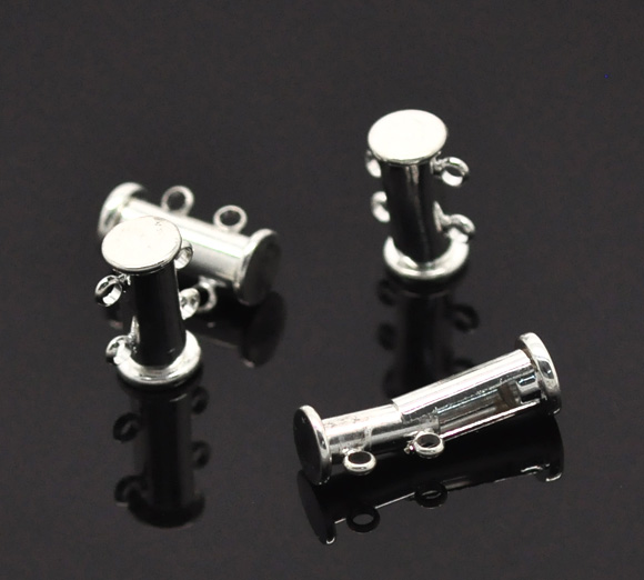 "Silver Plated 2 Strands Magnetic Slide Clasps 15x10mm(5/8""x3/8""),sold per pack of 5,Hottest"