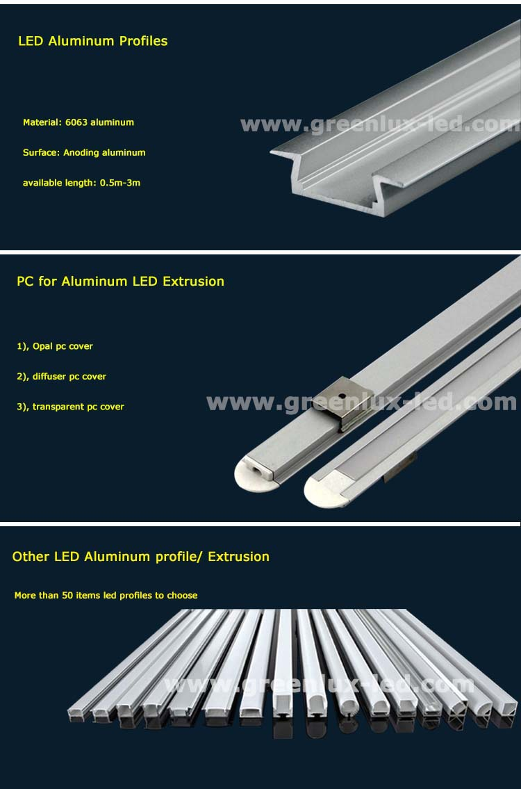 plastic cover aluminum led profile extrusion led strip light