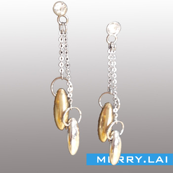 f6bb6f096247 stainless steel crystal IP earrings joyeria de fantasia barata para mujer  with two yellow crystals