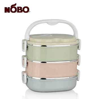 Rectangle stainless steel inside food container tiffin plastic lunch box