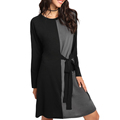 Ladies Color Block Tie Side Loose Fit Casual dress