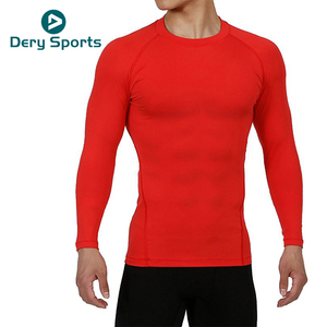 Compression Wear mens orang Sports Shirt Quick Dry Long Sleeve Fitness jogging Gym T-Shirt