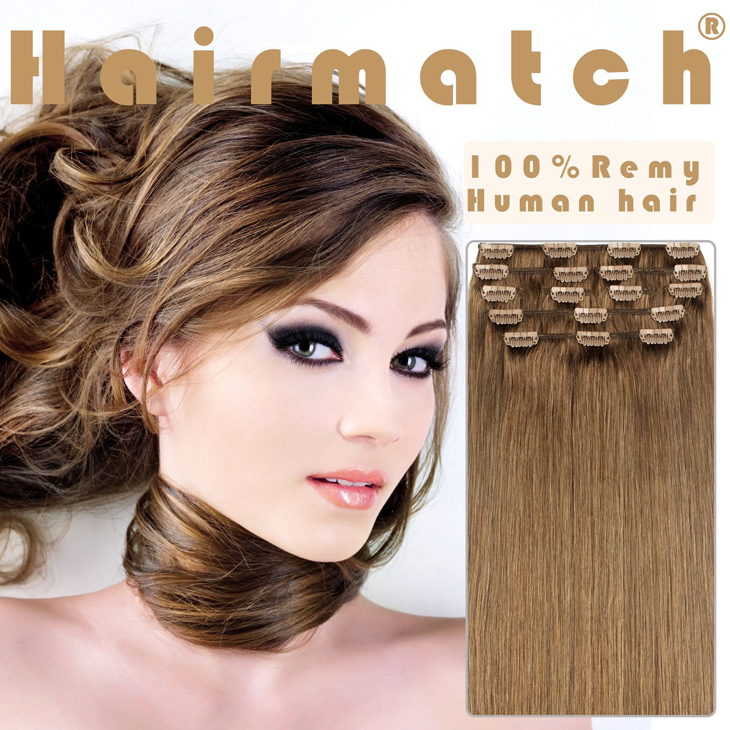 "Hairmatch® 100% Remy Human Hair Extension Clip in Extensions 9 Pieces 16""-22"" 8 Colors 125g (20""-22"" 9pcs 125g, Chestnut Brown 6)"