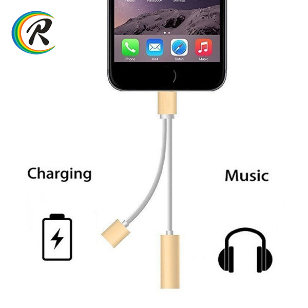 OEM 2 In 1 Charger Headphone Adapter for iphone 7 audio adapter for iphone 7 jack adapter