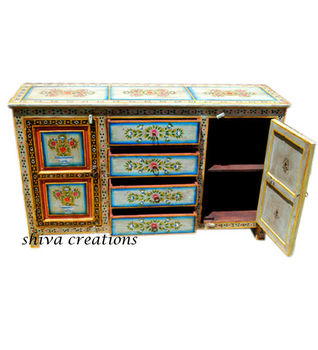Hand Painted Indian Sideboard Cabinet (Painted Living Room Furniture)