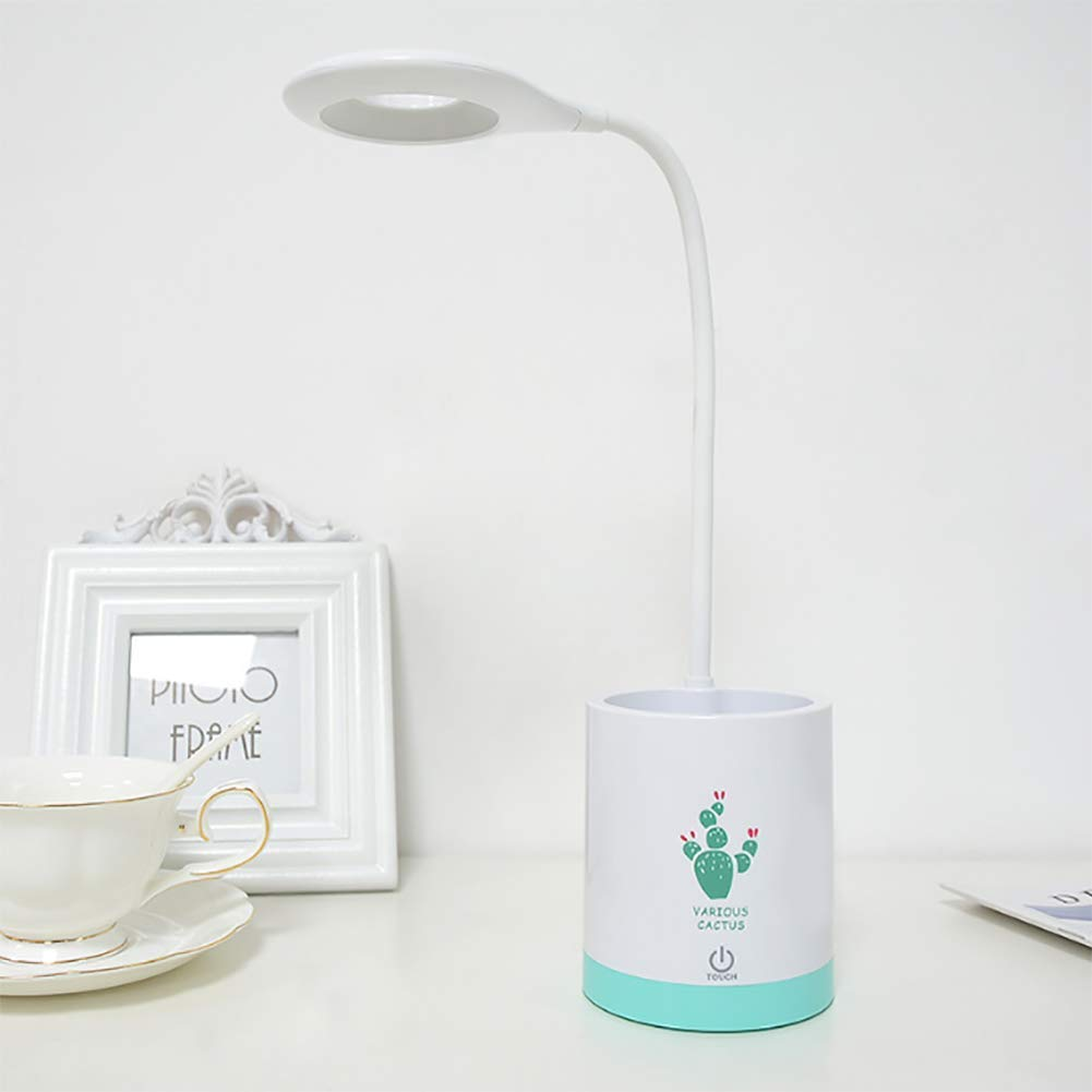 QJXX LED 3 Modes Dimmable Desk Lamp with Pen Holder,USB Charging Port Eye Protection Table Light Night Lights Children's Reading Lamps Touch Control,B