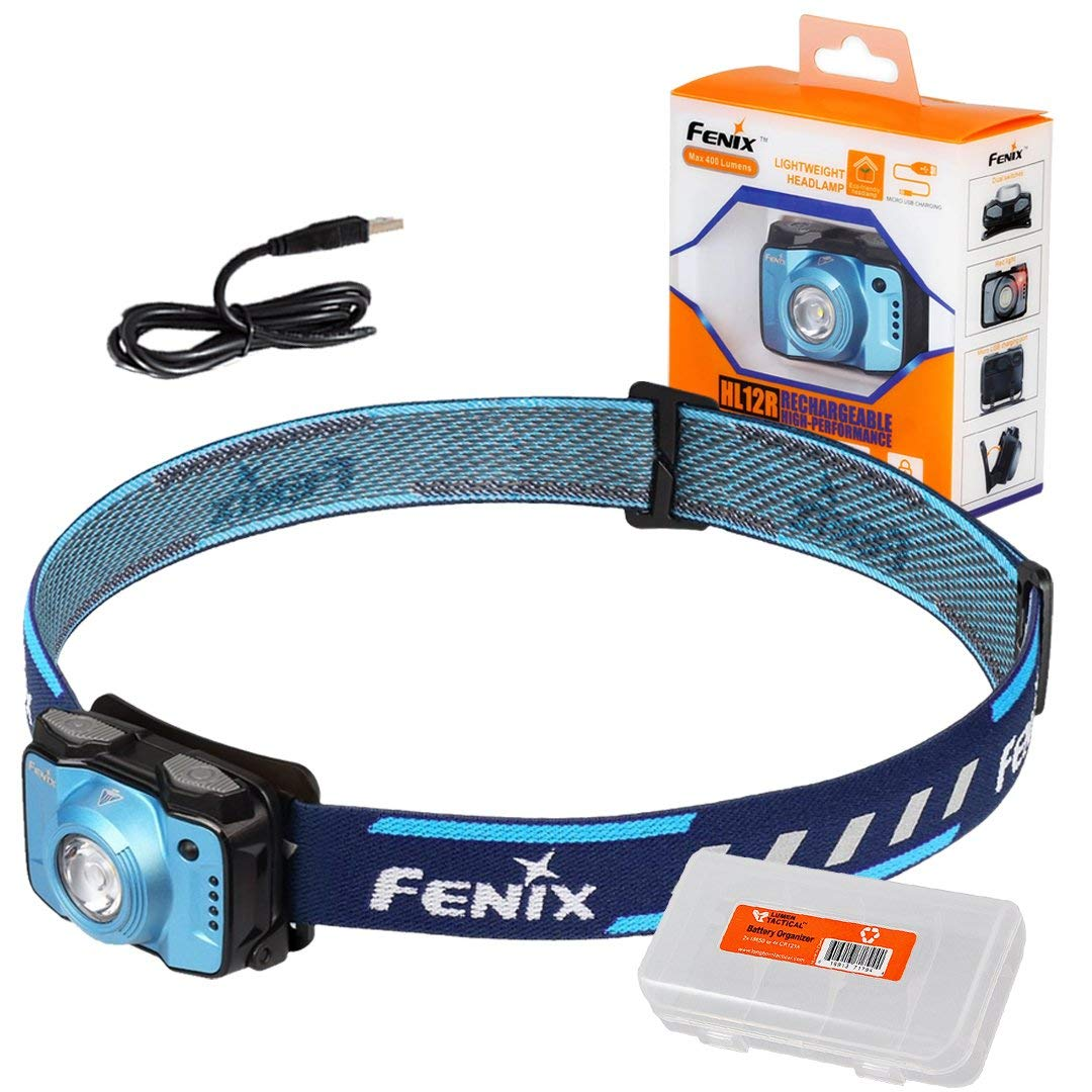 Fenix HL12R 400 Lumen Neutral White + Red LED Compact USB Rechargeable Headlamp and LumenTac Cable Organizer