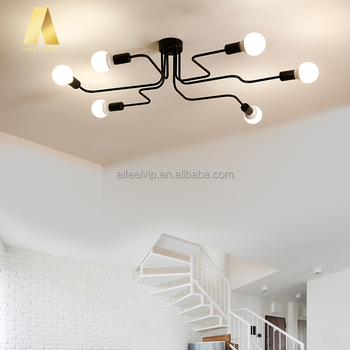 Retro Black Iron Fancy Home Decorative Lighting Ceiling Lights Fixture For Living Room