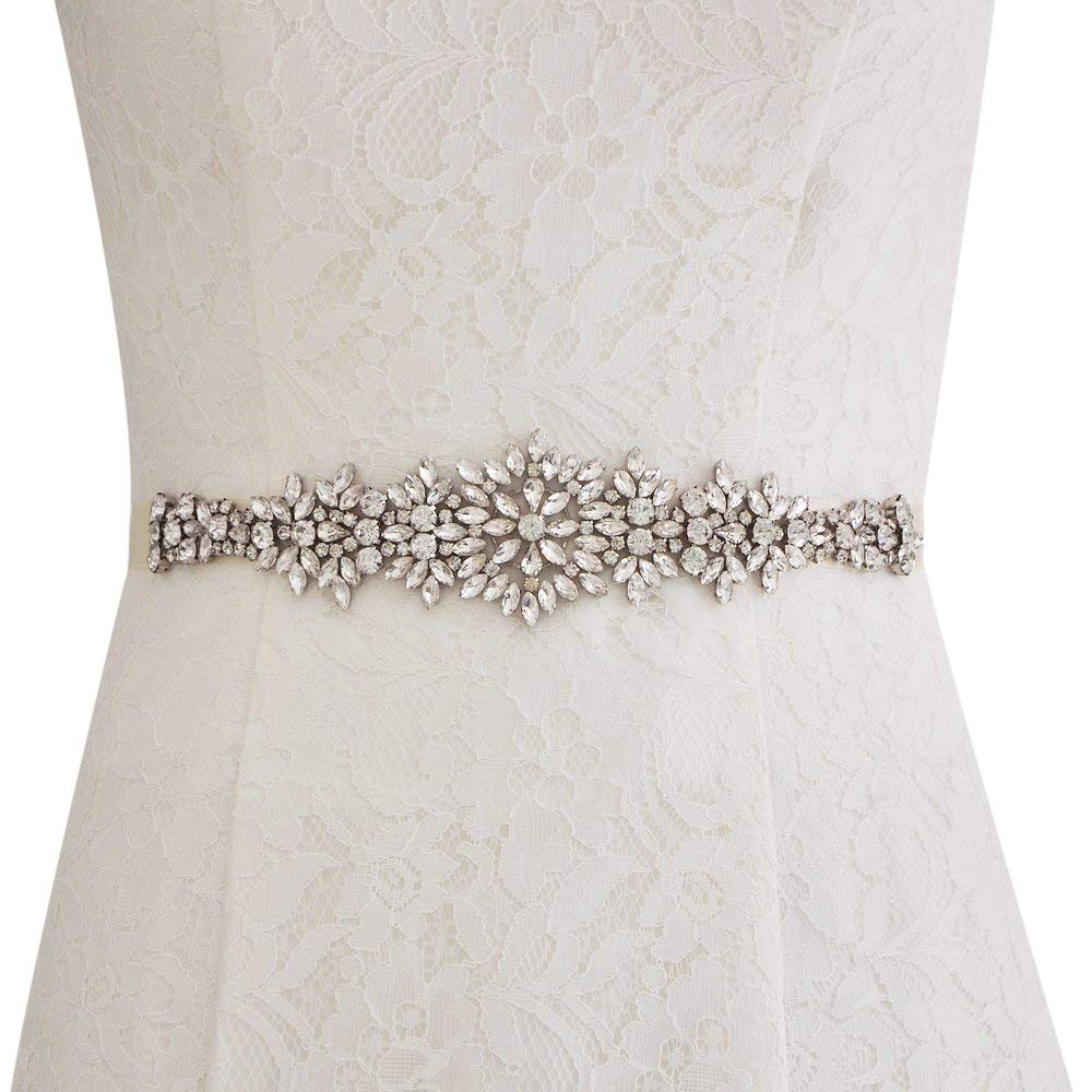 ULAPAN Wedding Belt With Crystals,Bridal Belt Sash With Pearls,Shin Elegant Wedding Sash Rhinestones,S319