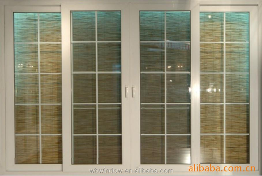 Decorative 4 Panl Terrace Sliding Glass Door With Grill Design