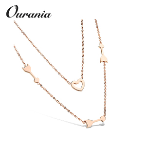 2018 Double Chain Necklaces Piercing Heart Pendants Rose Gold Stainless Steel Women Jewelry Lovely Gifts
