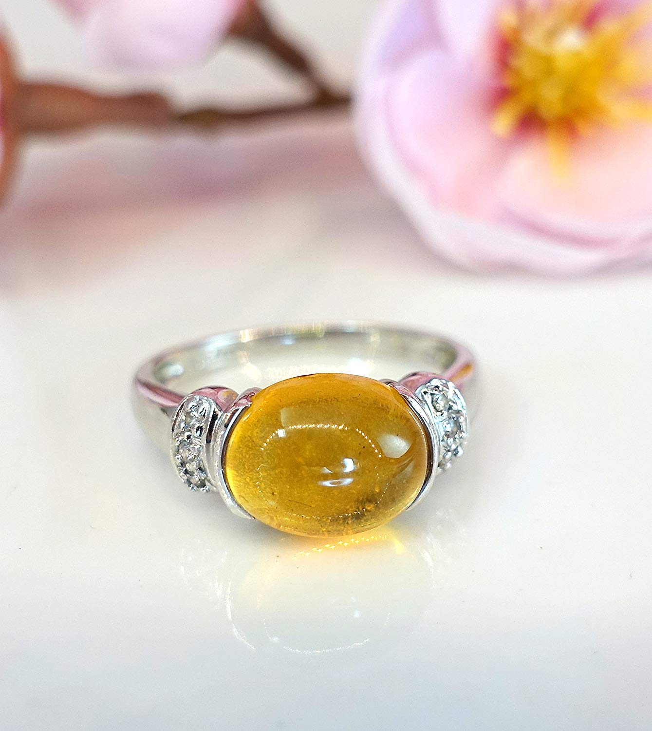 18k white gold diamond citrine oval ring size 7, genuine diamond ring, citrine genuine gemstone ring, wedding engagement ring, anniversary ring gift for wife