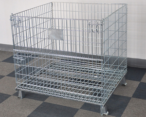 Folding stacking wire storage metal pallet bins cage