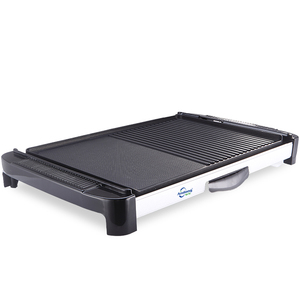 Indoor extra large cooking surface electric BBQ grill griddle on one side and a grill on the other