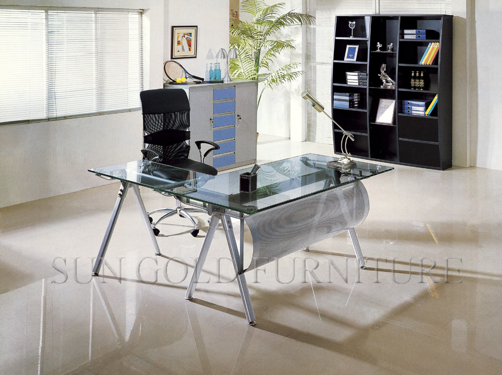 Simple et moderne design pas cher verre acier bureau dordinateur