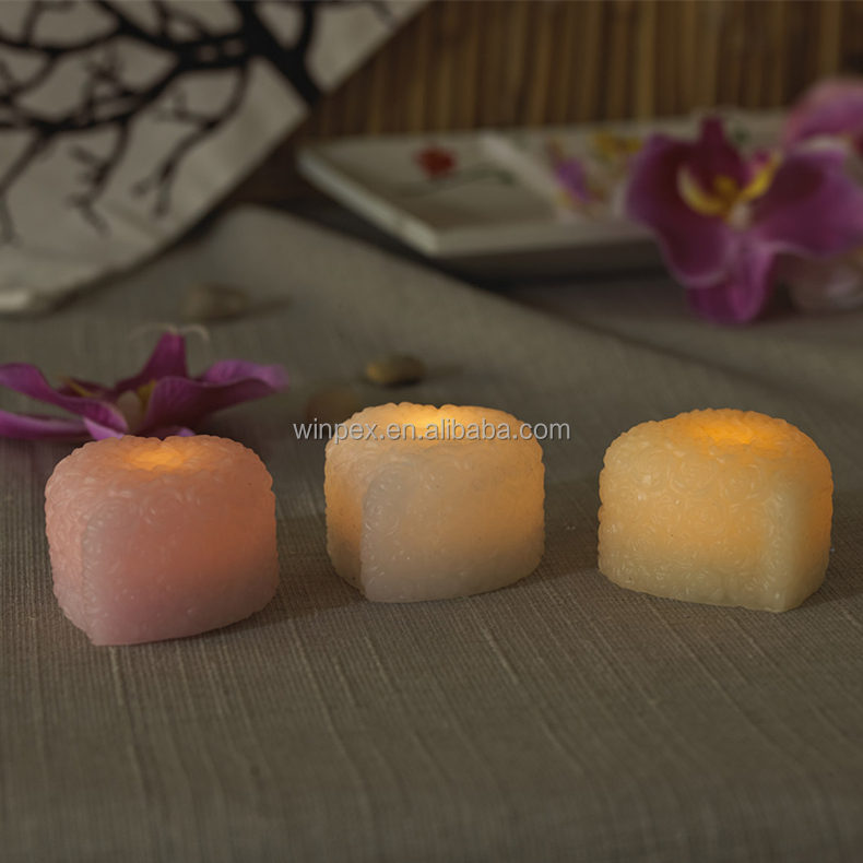 Romantic Gift & Decor Yellow Flickering LED Mini Real Wax Lovely Heart Candles With Rose Embossed