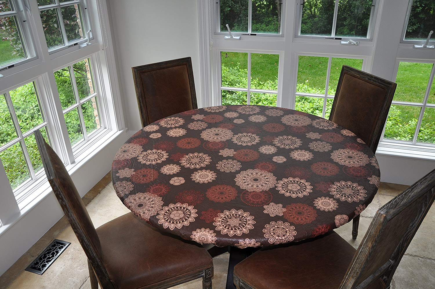 "Elastic Edged Flannel Backed Vinyl Fitted Table Cover - Medallion Pattern - Large Round - Fits Tables up to 45"" - 56"" Diameter"