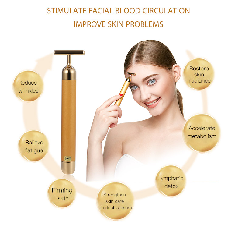 Kakusan Portable Vibrating T shape 24K Skin Care Facial Beauty Bar