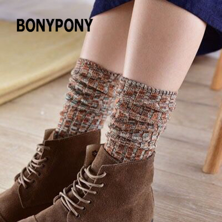 Bonypony Custom Vintage Style Colorful Cotton Crew Socks Leg Warmers Stocking Women Ladies Winter Fashion Knit Thick Long Socks