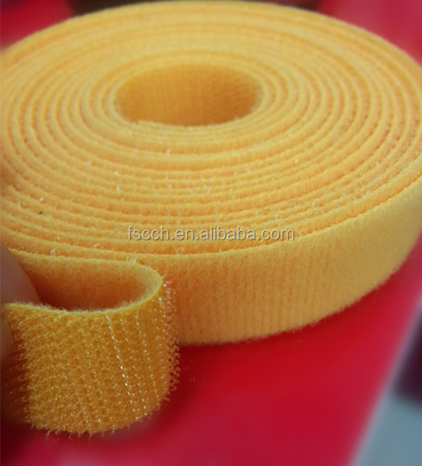 Yellow back to back scratchy nylon hook and loop tape