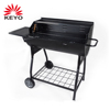 New Design Outdoor Trolley Large Cooking Area Grill Barbecue Bbq Barrel Shaped Charcoal Grill