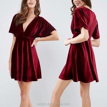 15a3cb60a946 Elegant Red Velvet Kimono Plunge Neckline Mini Skater Dress For Ladies