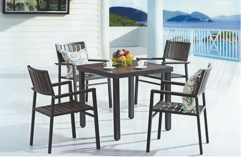 Square Armrest Chairs And Table Plastic Wood Outdoor