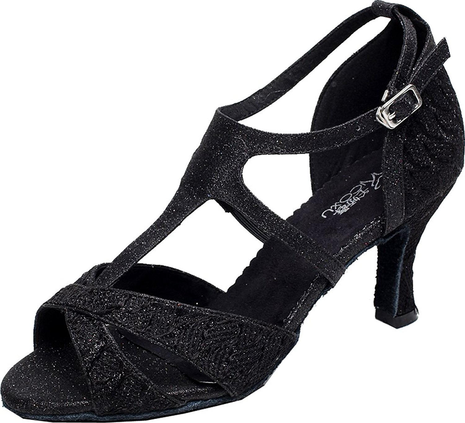 Abby Q-6208 Womens Latin Tango Cha-cha Ballroom Kitten Heel T-bar Peep-toe PU Dance-shoes