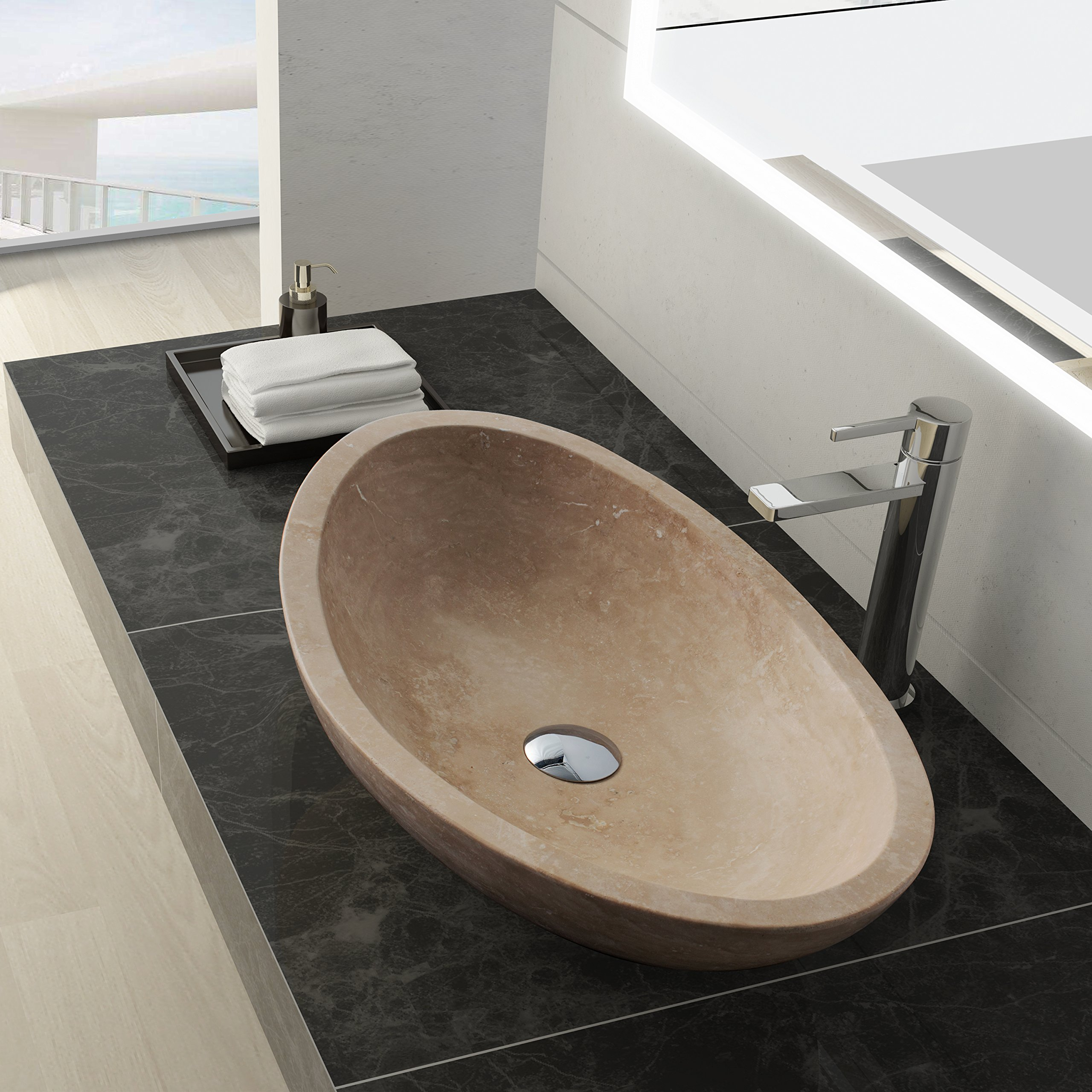 Get quotations · maykke livingston 24 oval stone vessel sink modern cream natural stone travertine sinks for