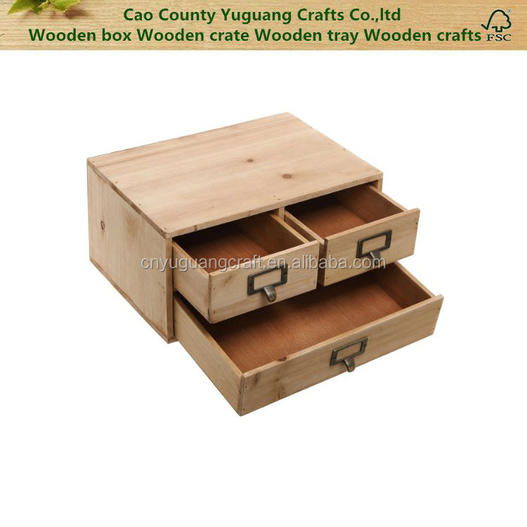 Shabby chic Small Rustic Natural Wood Office Storage Cabinet Jewelry Organizer w 3 Drawers, Brown