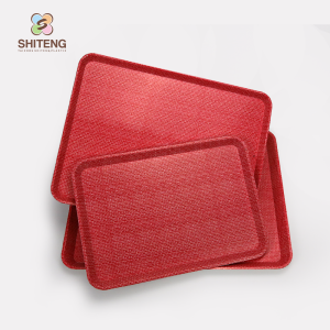 Wholesale custom printed serving tray red plastic charger plates