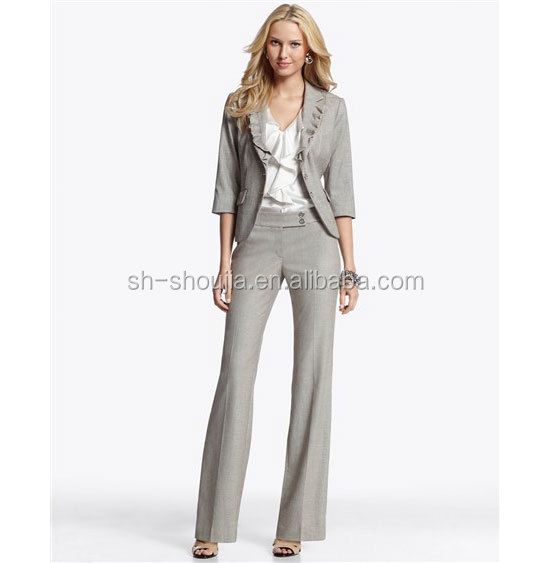 Grey Fashion Las Elegant Business Suit Lady Office Uniform